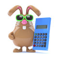 D calculating bunny render of a chocolate easter rabbit holding a calculator Stock Photo