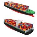 3d cargo container ship