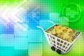 D cart full of puzzles illustration on colorful background top angle view Stock Images