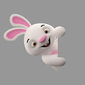 D cartoon character easter bunny amazing merry rabbit animal isolated Stock Image