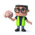 3d Cartoon health and safety inspector character holds a human brain Royalty Free Stock Photo