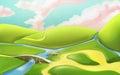 3d cartoon nature landscape with bridge