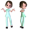 D cartoon nurse digitally rendered image of a cute female Stock Photography