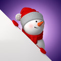 D cartoon snowman holding white page corner christmas banner template blank place for adding text Royalty Free Stock Photo