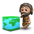 D caveman has a new theory render of with cubic globe of the earth Stock Images