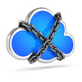 D chained cloud render of a wrapped in chains Stock Photography