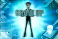 D character hold grow up text in hands illustration on abstract background front angle view Royalty Free Stock Photo