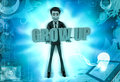 D character hold grow up text in hands illustration on abstract background top angle view Stock Photos