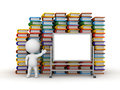 D character showing whiteboard with books in background a large empty and many stacks of colorful behind him on white Royalty Free Stock Photos