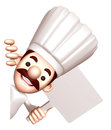 3D Chef holding a signpost. Work and Job Character Design Series Royalty Free Stock Photo