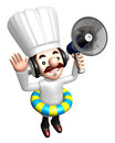 3D Chef Mascot the hand is holding a loudspeaker Royalty Free Stock Photo