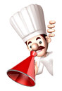 D chef mascot the hand is holding a loudspeaker work and job character design series Stock Photos