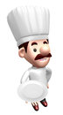 3D Chef mascot the hand is holding a plate Royalty Free Stock Photo