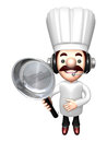 3D Chef Mascot holding a large frying pan Royalty Free Stock Photo