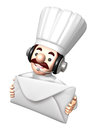 3D Chef Mascot holding a large letter Royalty Free Stock Photo
