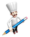 3D Chef Mascot holding a large Pencil Royalty Free Stock Photo