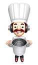 3D Chef Mascot holding a large skillet Royalty Free Stock Photo