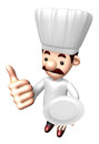 D chef mascot the left hand best gesture and right hand is hold holding a plate work job character design series Royalty Free Stock Image