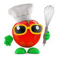 D chef tomato render of a wearing a chefs outfit and holding a whisk Stock Photos