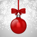 3d Christmas ball ornaments with red ribbon and bows