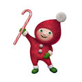 D christmas elf toy character with candy cane holding caner isolated on white background Stock Images