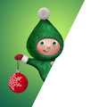 D christmas elf toy character holding ball looking out the corner diagonal blank page banner empty space for text Stock Image