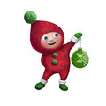 D christmas elf toy character isolated on white holding green glass ball background Royalty Free Stock Images