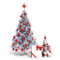 3d Christmas tree with colorful ornaments and presents Royalty Free Stock Photo