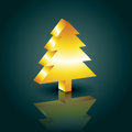 D christmas tree style golden design Royalty Free Stock Images