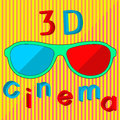 3D cinema text and stereo glasses concept art Royalty Free Stock Photo