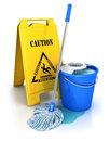 D cleaning equipment white background image Stock Photos