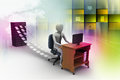 D clerk working in the office color background Royalty Free Stock Photos
