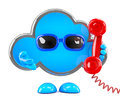 D cloud phones render of a holding a telephone handset Royalty Free Stock Photo