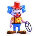 D clown has had a crash render of is left holding steering wheel Stock Image