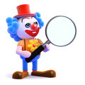 D clown magnifies render of a with a magnifying glass Stock Photography