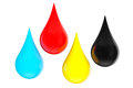 D cmyk ink drops on a white background Stock Image