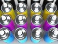 3d CMYK Spray paint cans Royalty Free Stock Photo