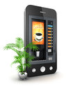 D coffee machine smartphone white background image Stock Photos