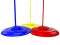 D color paint in yellow blue and red isolated over white Royalty Free Stock Image