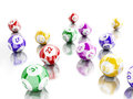 3d Colorful bingo balls against white background.