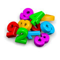 D colorful funny stack of numbers on white background illustration Royalty Free Stock Photography