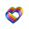 D colorful hearts combined together mixed colors connected love friendship homosexual relations symbol valentines day clip art on Royalty Free Stock Photography