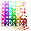 D colorful paper lizards turn to life in jigsaw style can be use for decoration Stock Photography