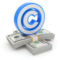 D concept with copyright symbol and the money Royalty Free Stock Photography