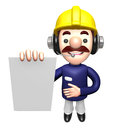 D construction site man character is holding paper documents w work and job design series Royalty Free Stock Photos