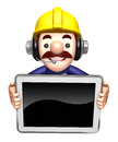 The d construction site man shows the monitor work and job character design series Stock Photo