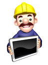 The d construction site man shows the monitor work and job character design series Stock Photography