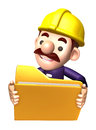 D construction staff hand grasp the folder work and job charac character design series Royalty Free Stock Image