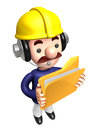 D construction staff hand grasp the folder work and job character design series Royalty Free Stock Photos