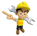3D Construction Worker Man Mascot is slung the spanner over his Royalty Free Stock Photo